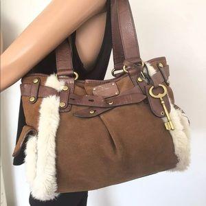 Fossil Bag Leather Fur Designer Fashion Hip Boho